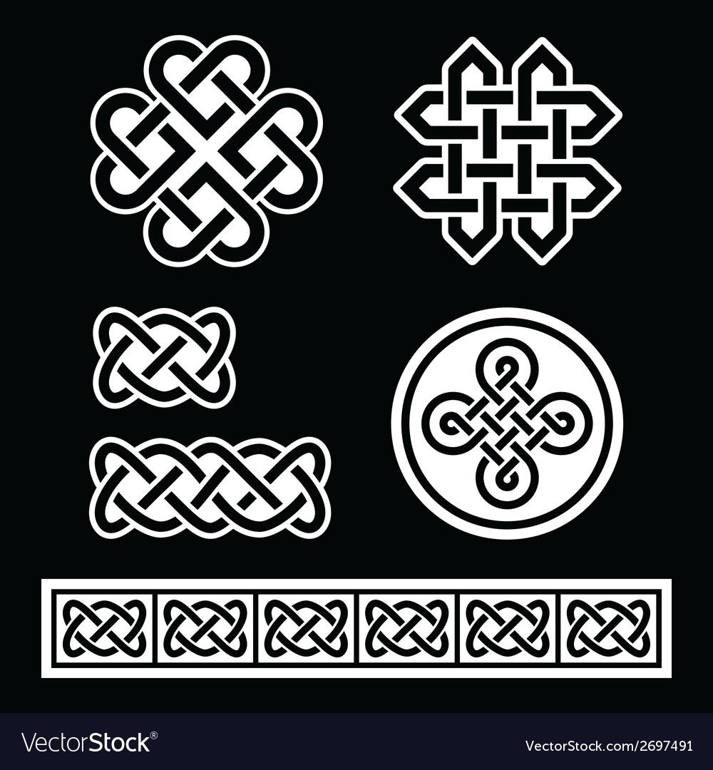 Celtic irish patterns and braids on black vector | Price: 1 Credit (USD $1)