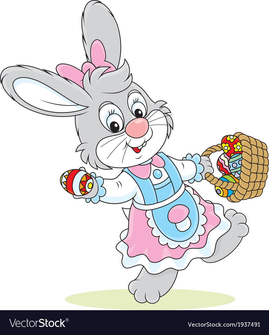 Easter bunny with a basket of eggs vector | Price: 1 Credit (USD $1)