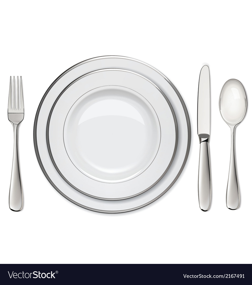 Empty plates with silver rims spoon fork knife vector | Price: 1 Credit (USD $1)