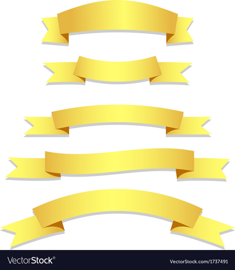 Gold ribbons flags vector | Price: 1 Credit (USD $1)