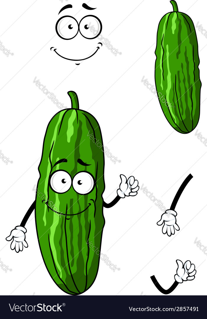 Happy green cartoon cucumber vector | Price: 1 Credit (USD $1)
