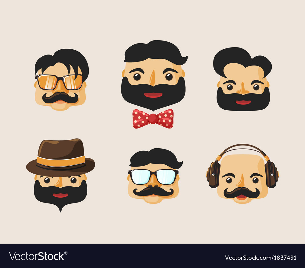 Hipster characters pack with facial emotions vector | Price: 1 Credit (USD $1)