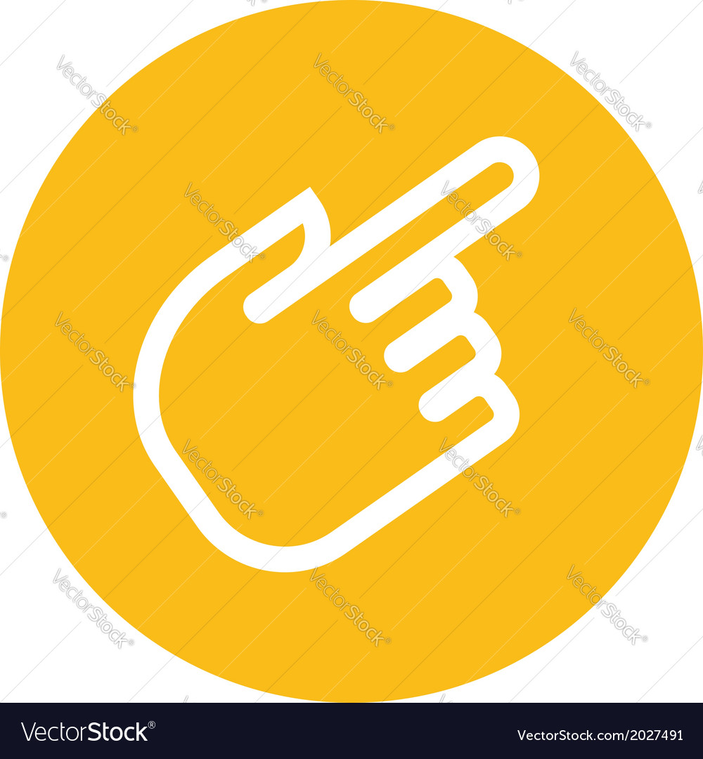 Outline forefinger in orange label vector | Price: 1 Credit (USD $1)