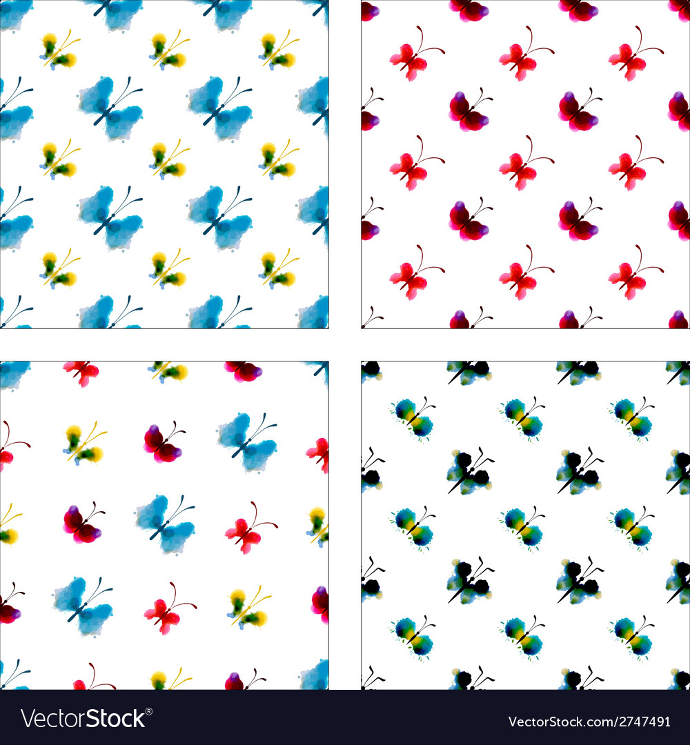 Set of seamless patterns of watercolor butterflies vector | Price: 1 Credit (USD $1)