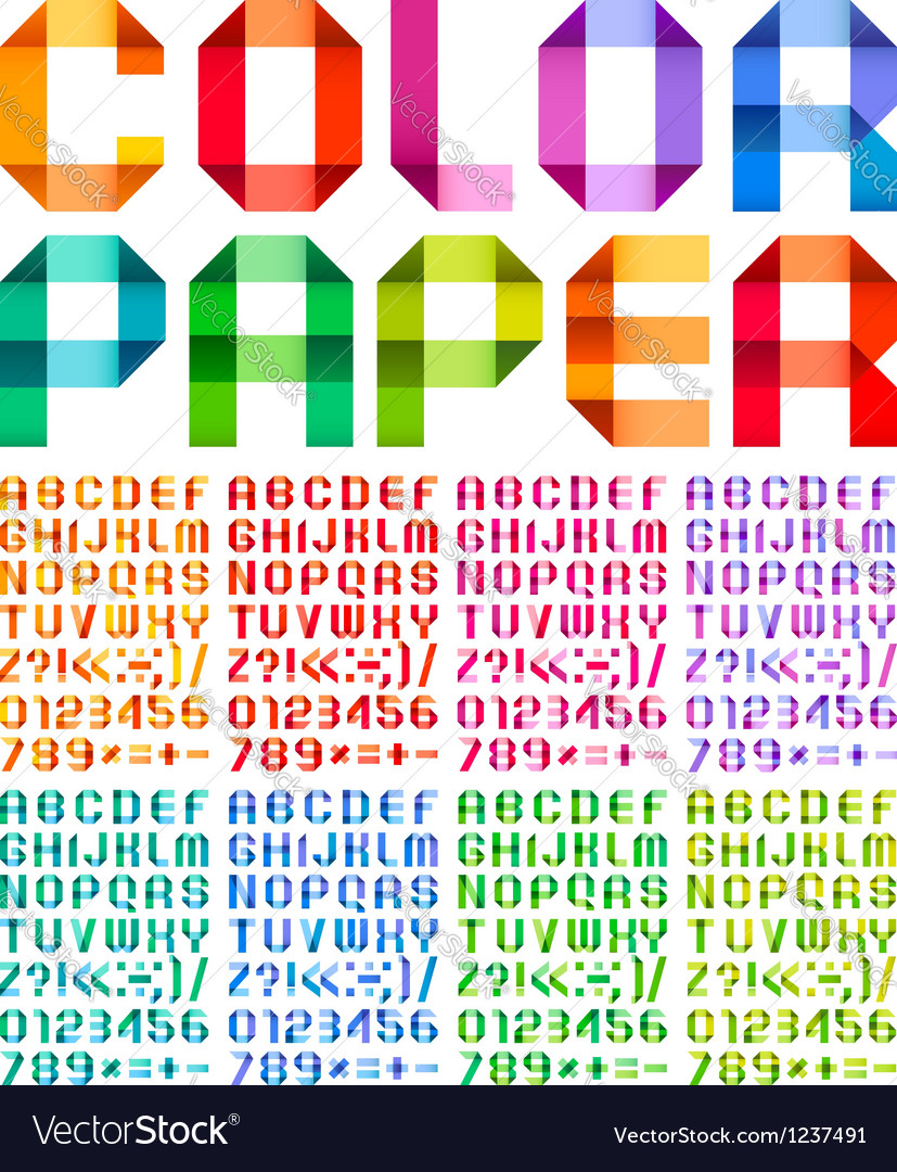 Spectral alphabet folded of paper ribbon colour vector | Price: 1 Credit (USD $1)