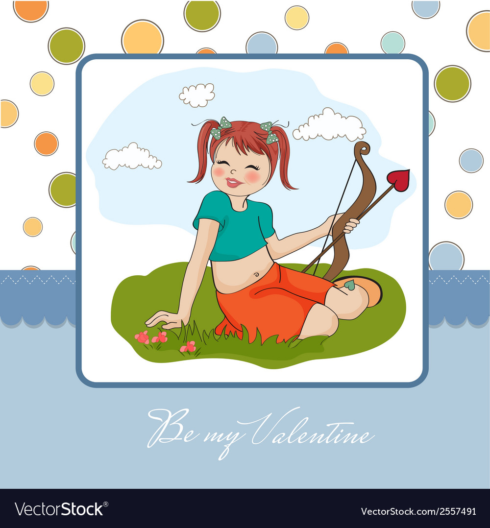 Young pretty girl with cupid bow valentines day vector   Price: 1 Credit (USD $1)