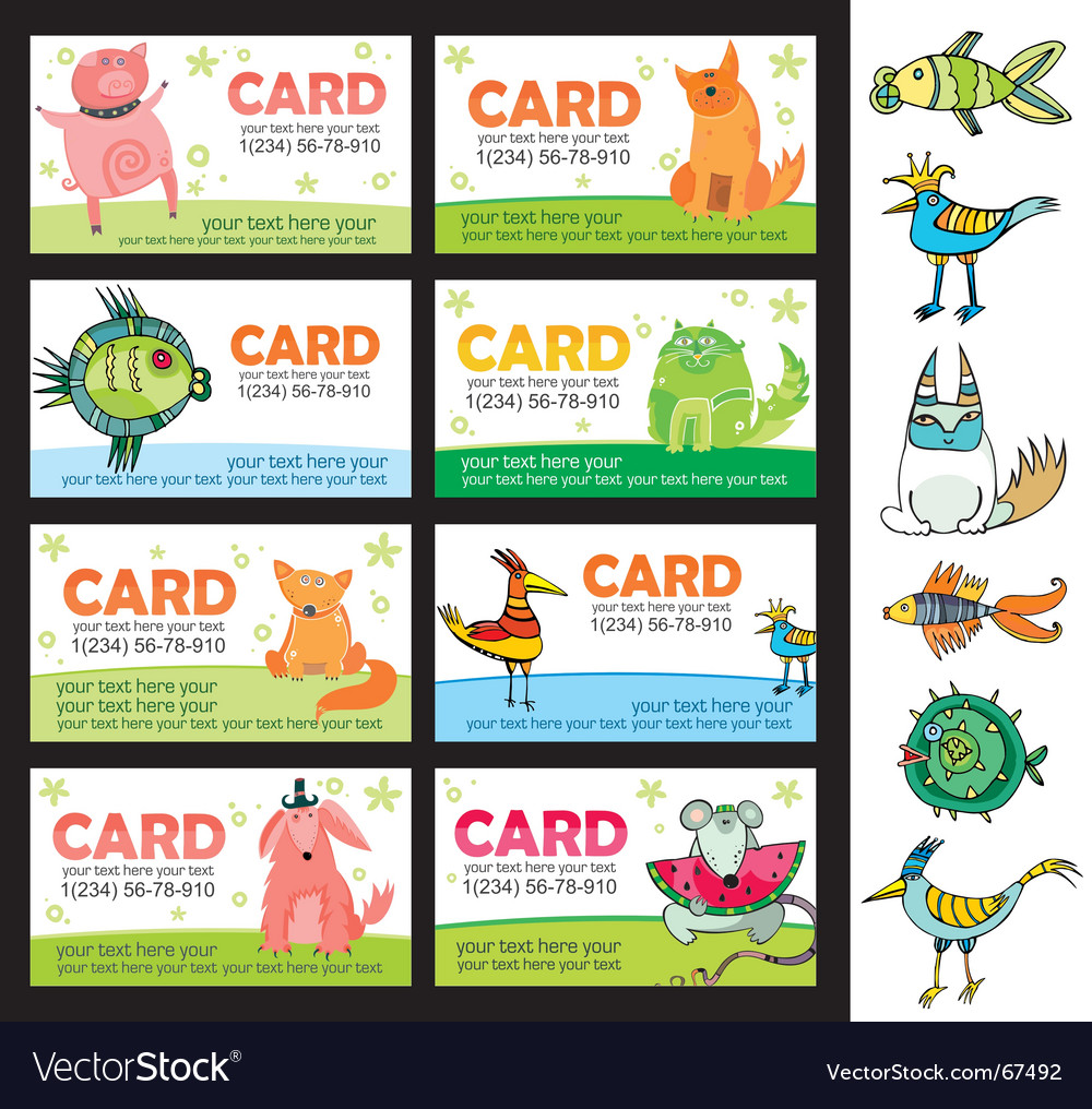 Animals cards vector