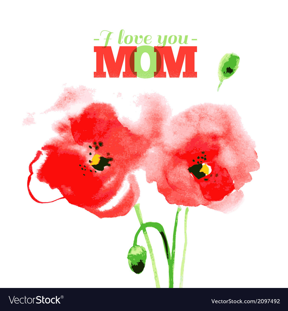 Beautiful watercolor paint red poppy vector   Price: 1 Credit (USD $1)