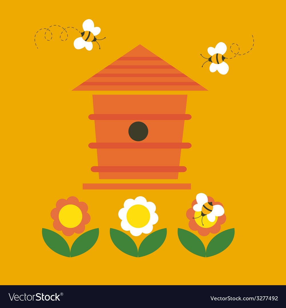 Beehive and bees vector | Price: 1 Credit (USD $1)