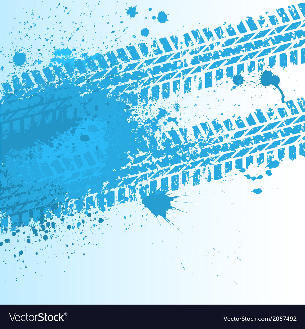 Blue tire track on white vector | Price: 1 Credit (USD $1)