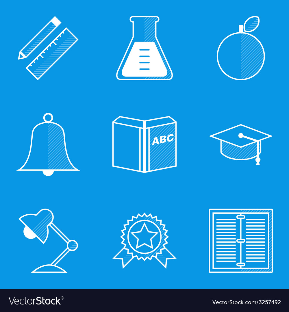 Blueprint icon set education vector | Price: 1 Credit (USD $1)