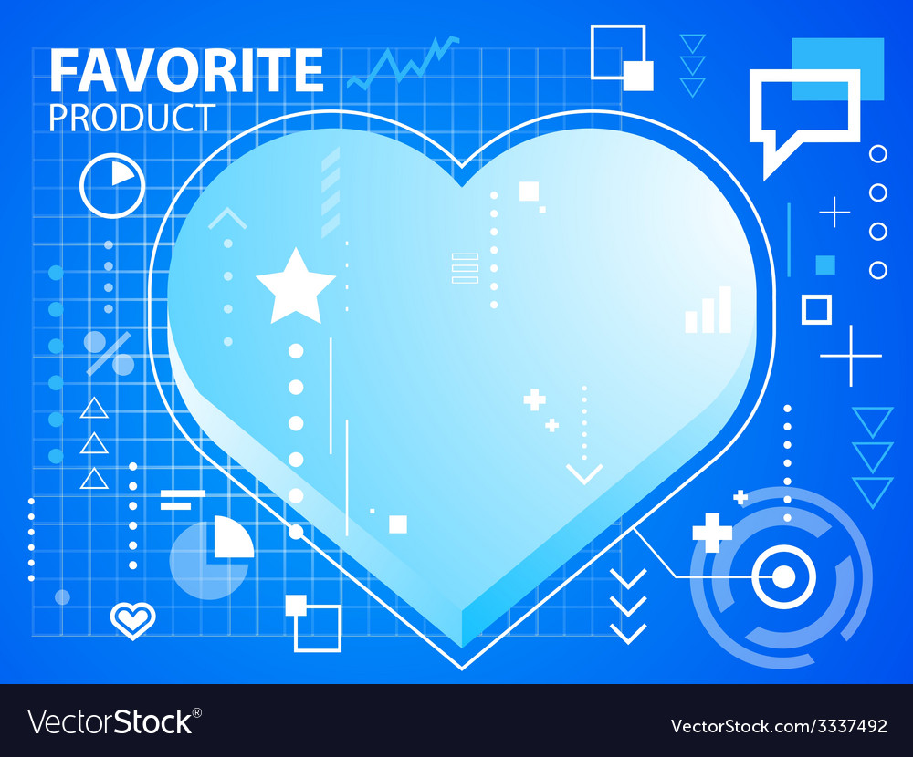 Bright heart on blue background for banner vector | Price: 3 Credit (USD $3)