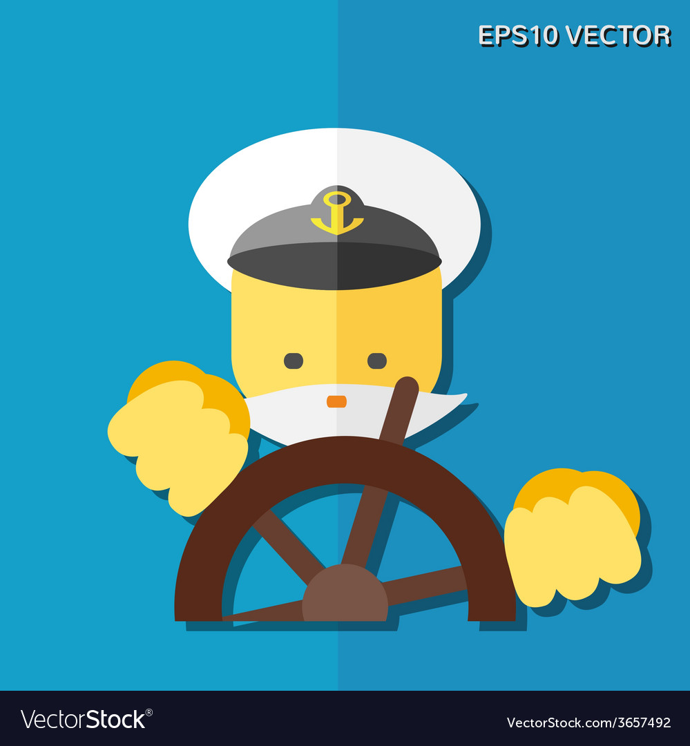 Captain flat icon vector | Price: 1 Credit (USD $1)
