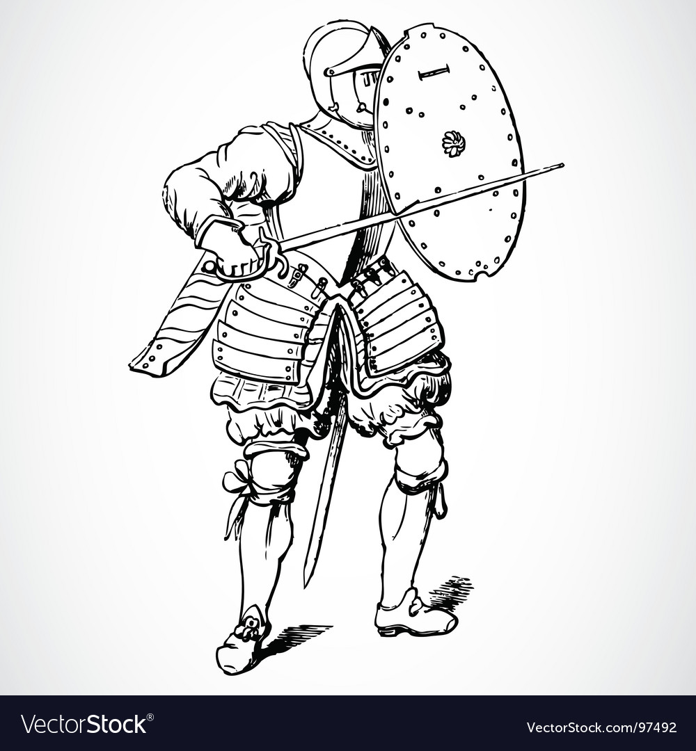 Knight and shield vector | Price: 1 Credit (USD $1)