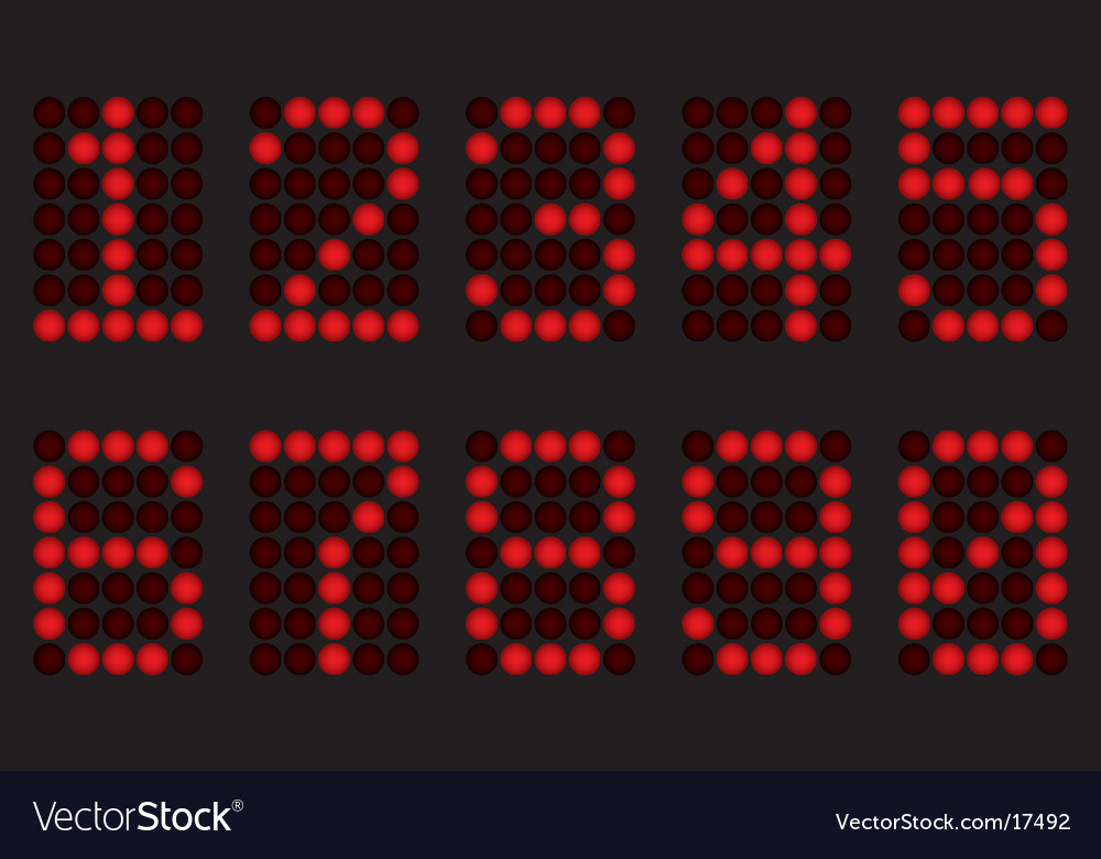 Red digits for matrix display vector | Price: 1 Credit (USD $1)