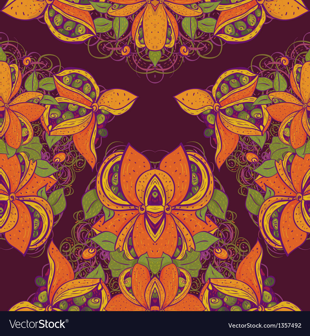 Seamless exotic flower pattern in vector | Price: 1 Credit (USD $1)