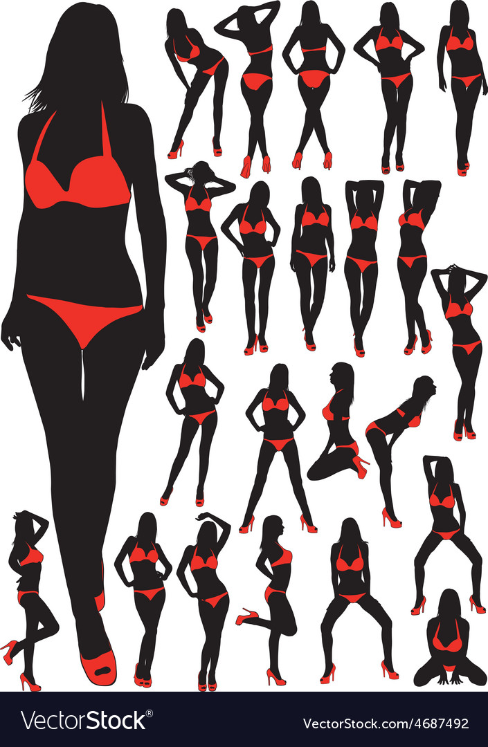 Silhouettes girls in swimsuit vector | Price: 1 Credit (USD $1)