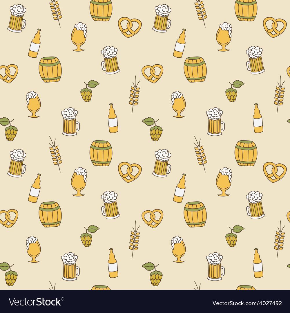 Simple beer seamless pattern doodle design vector | Price: 1 Credit (USD $1)