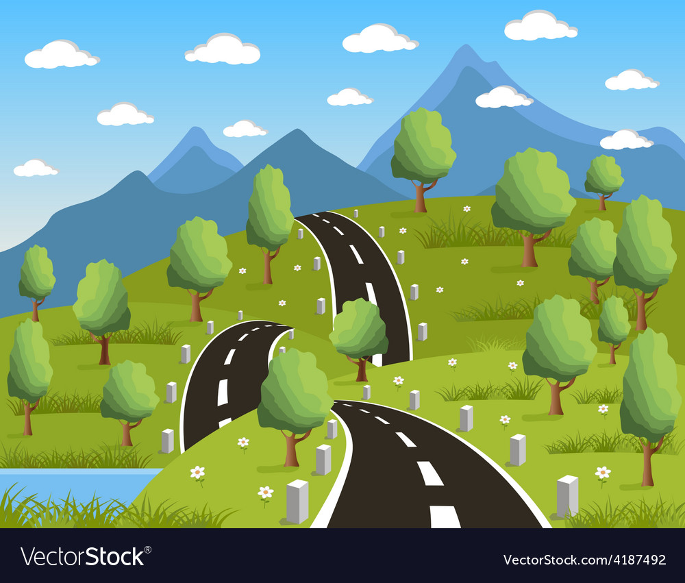 Spring or summer road to the mountain vector | Price: 3 Credit (USD $3)