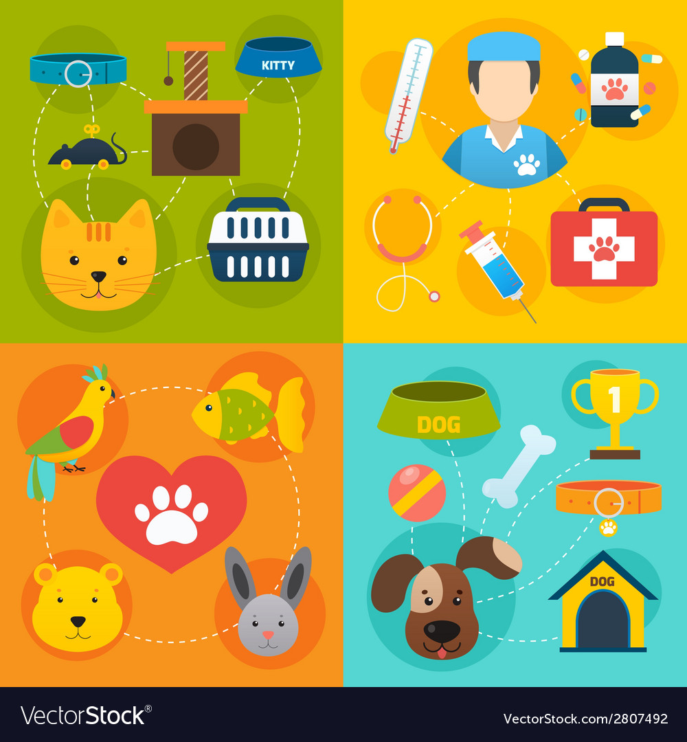 Veterinary icons set flat vector | Price: 1 Credit (USD $1)