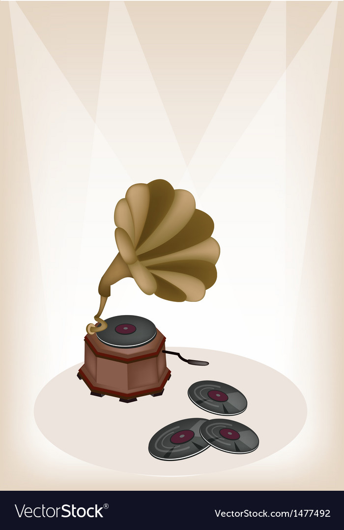 Vintage gramophone brown stage vector | Price: 1 Credit (USD $1)