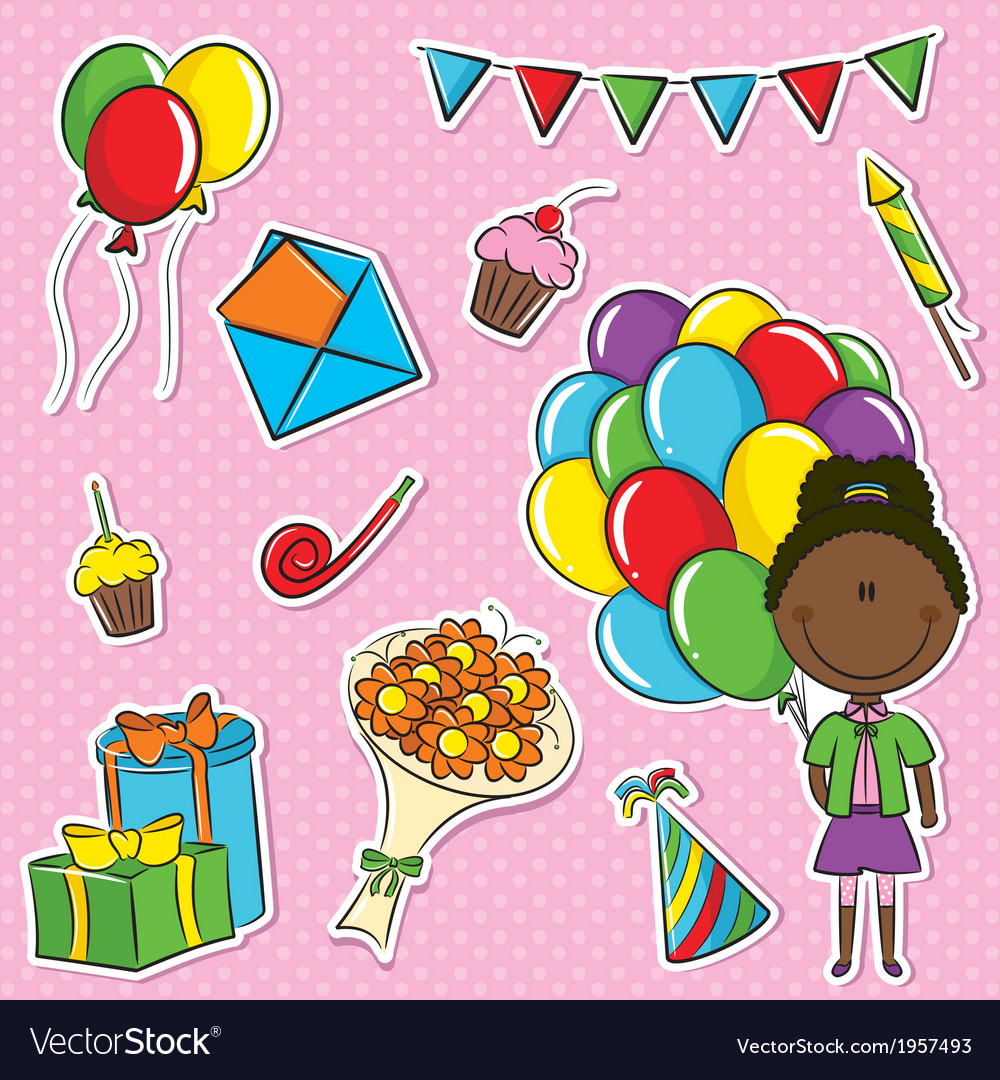 African-american girl with color balloons and birh vector | Price: 1 Credit (USD $1)