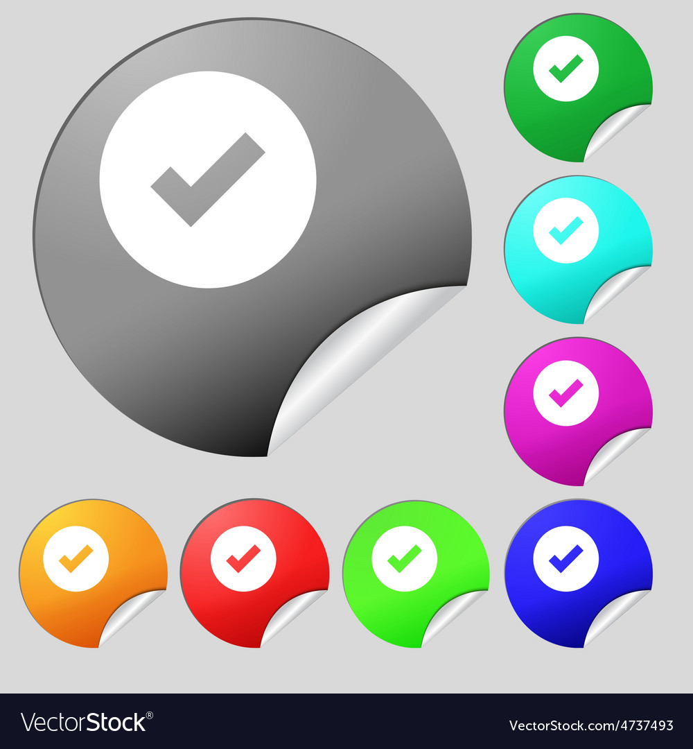 Check mark tik icon sign set of eight vector | Price: 1 Credit (USD $1)