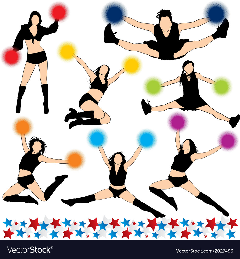 Cheerleaders silhouettes set vector | Price: 1 Credit (USD $1)