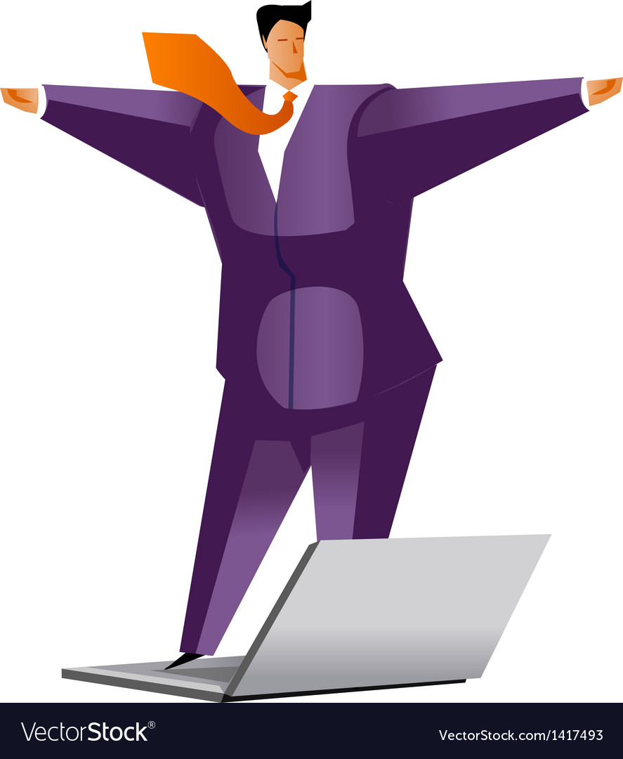 Close-up of man standing on laptop vector | Price: 3 Credit (USD $3)
