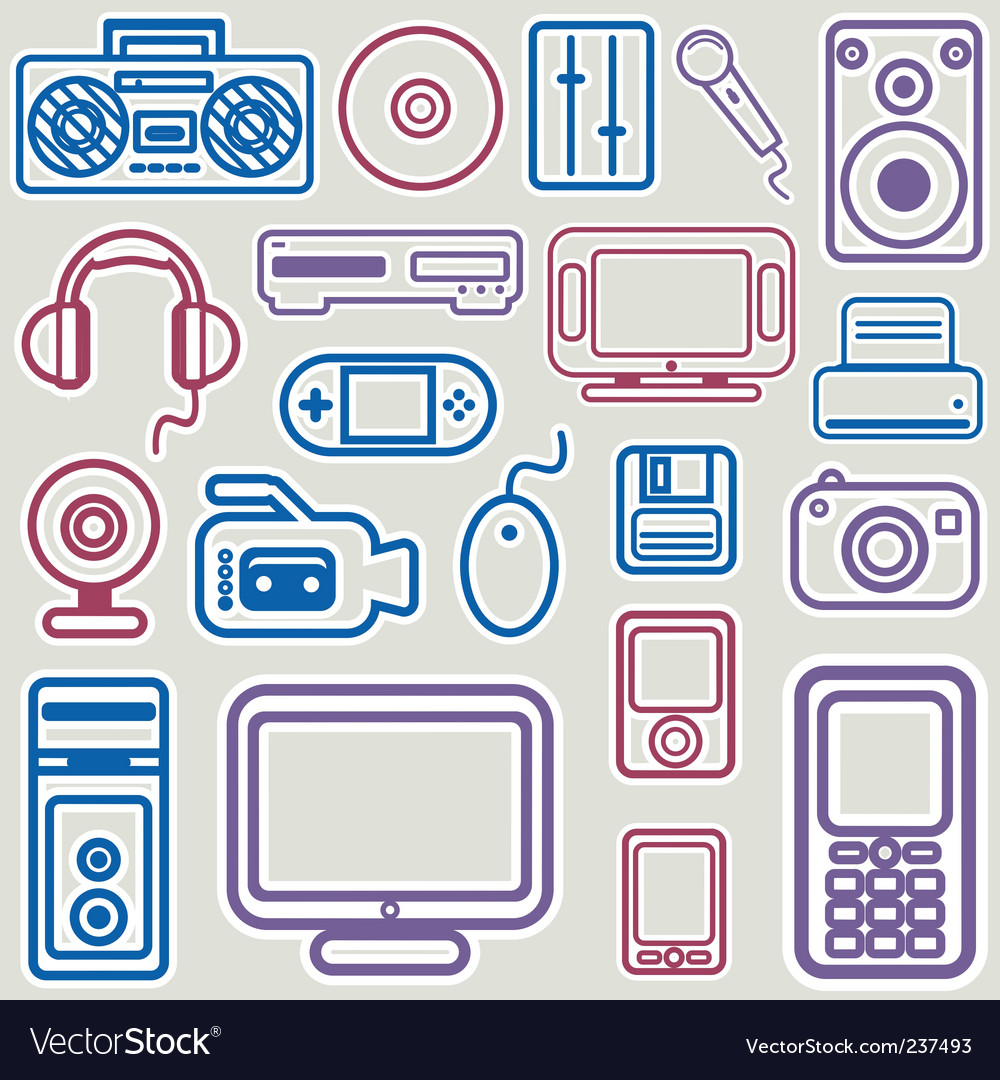 Electronic icon set vector | Price: 1 Credit (USD $1)