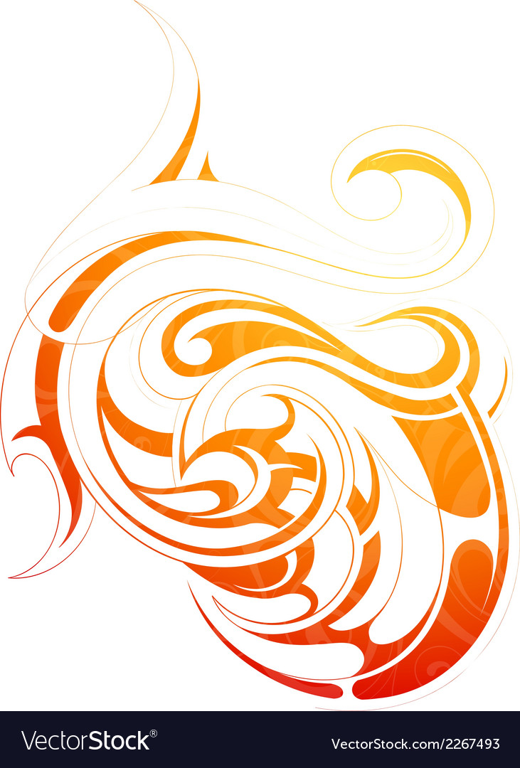 Fire flame tattoo as graphic design element vector | Price: 1 Credit (USD $1)