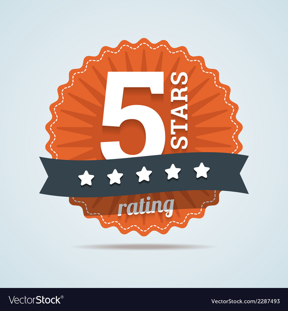 Five stars rating sign in flat style vector | Price: 1 Credit (USD $1)