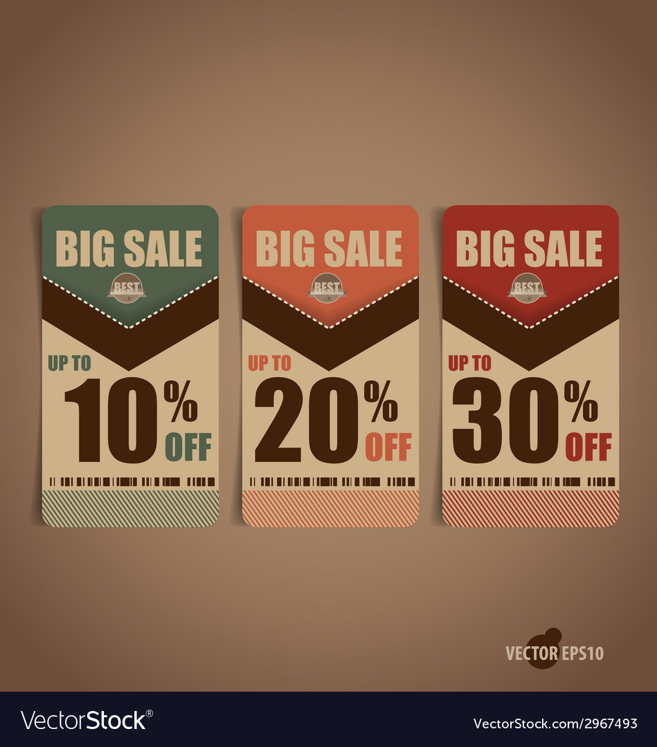 Sale coupon voucher tag vintage style template vector | Price: 1 Credit (USD $1)