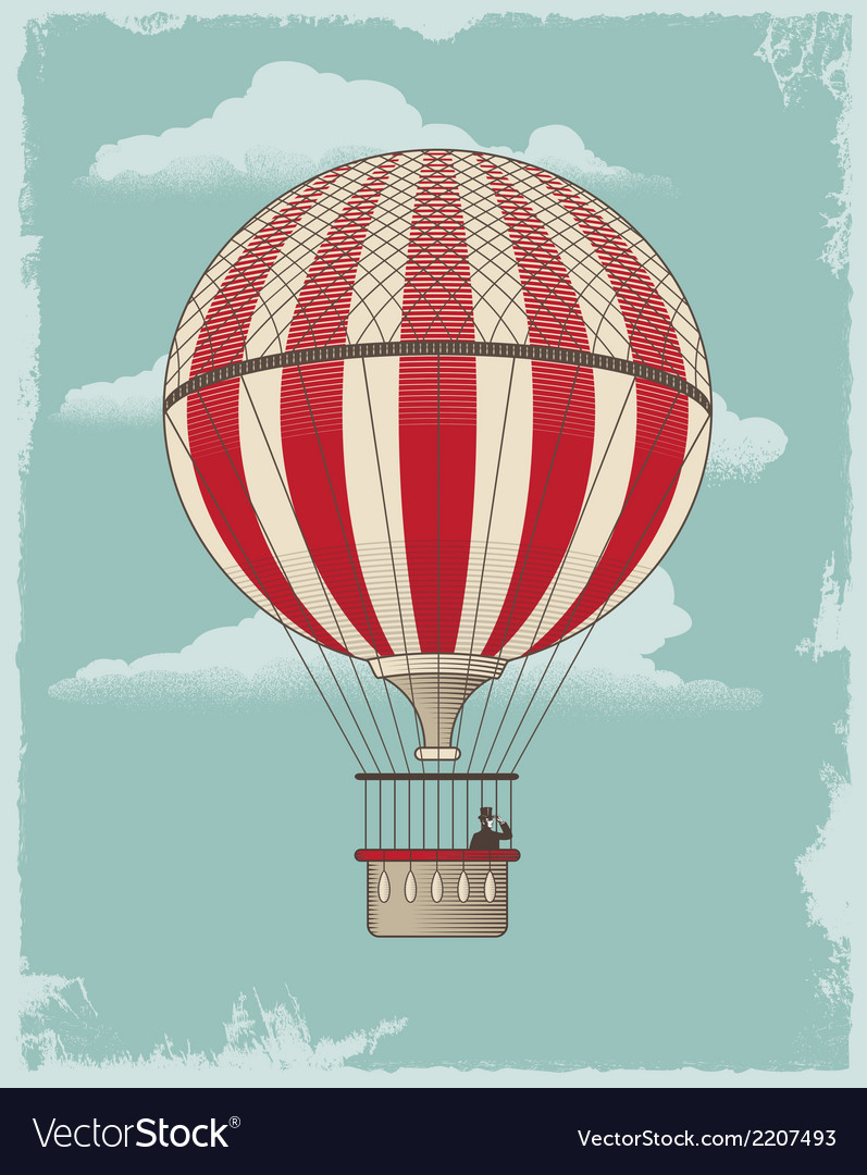 Vintage retro hot air balloon vector | Price: 1 Credit (USD $1)