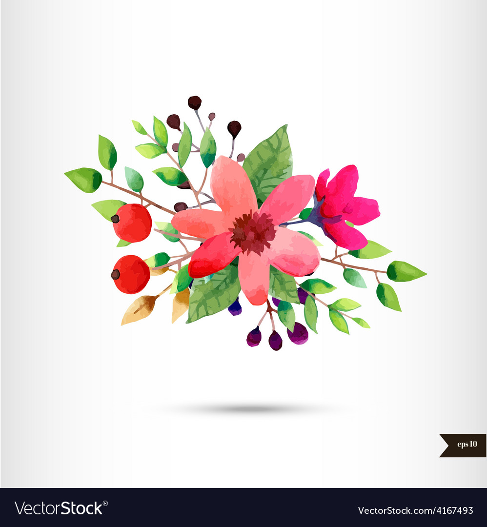 Watercolor flowers with foliage and branch vector | Price: 1 Credit (USD $1)