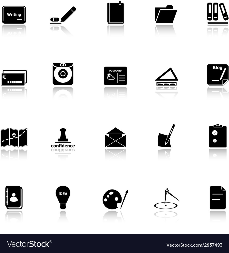 Writing related icons with reflect on white vector | Price: 1 Credit (USD $1)