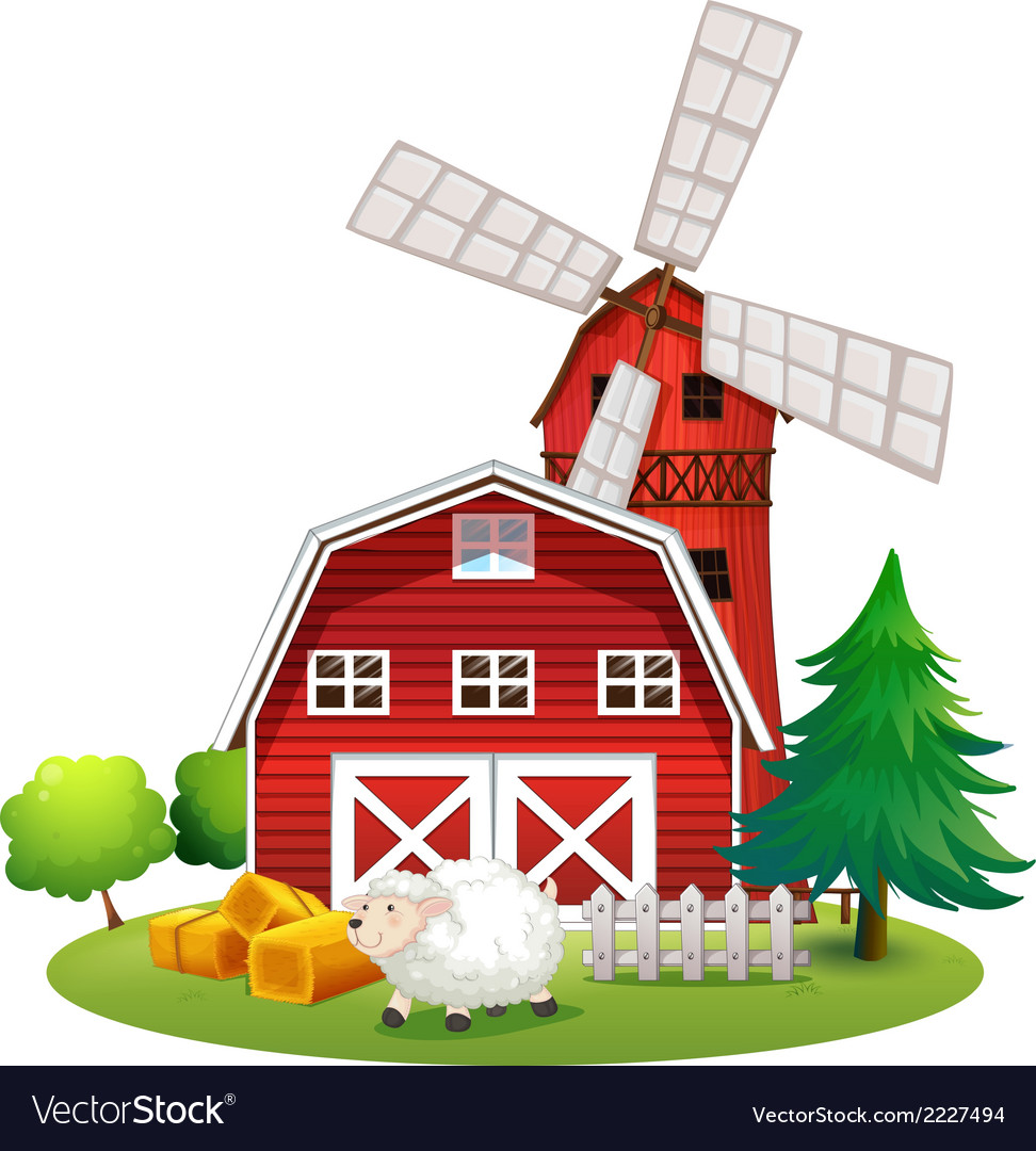 A sheep outside the red barnhouse vector | Price: 1 Credit (USD $1)