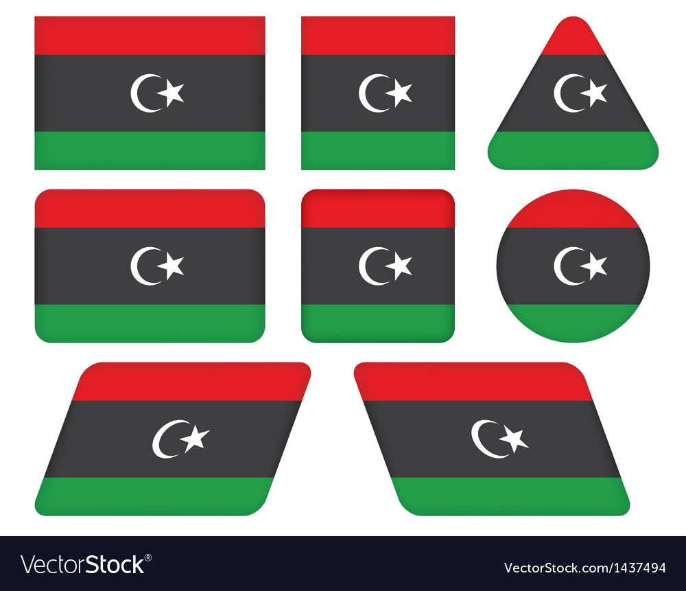 Buttons with flag of libya vector | Price: 1 Credit (USD $1)