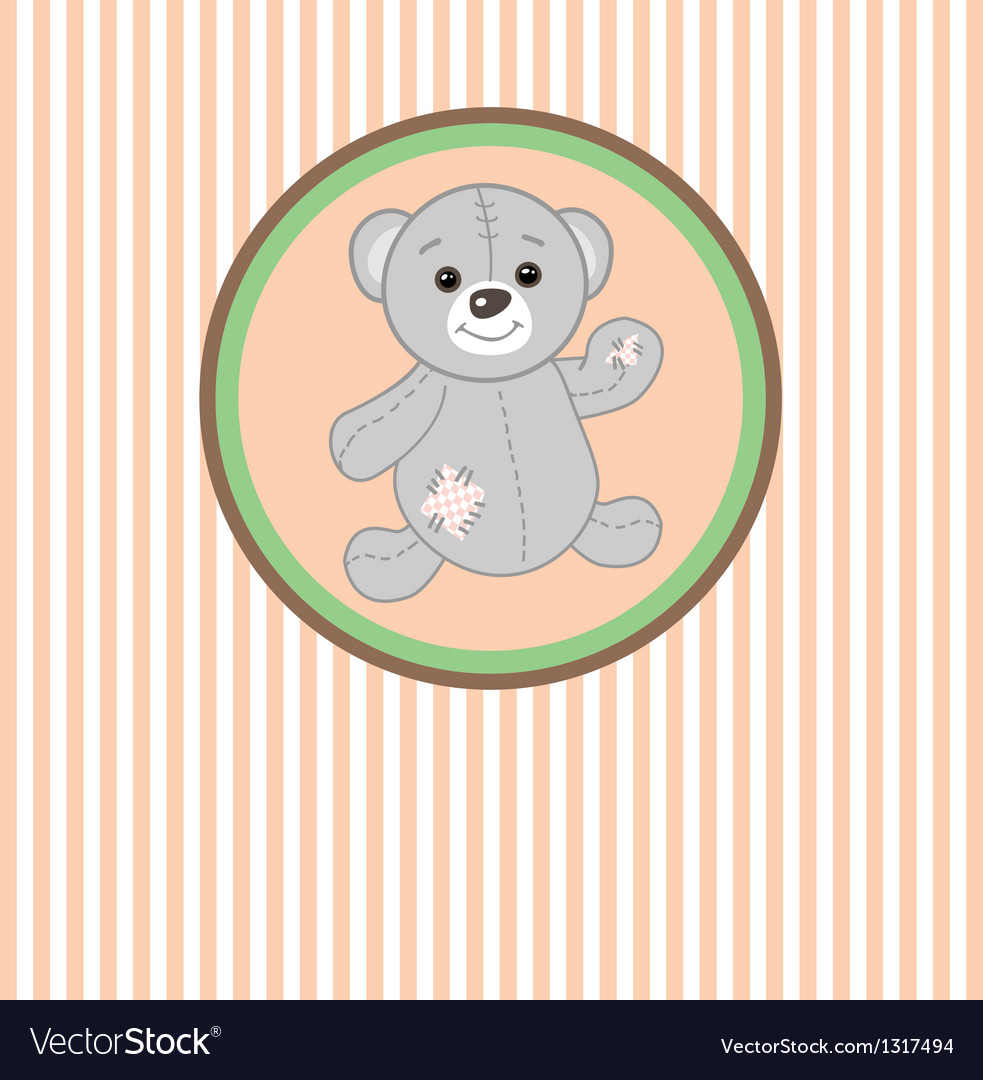 Cute grey teddy bear with patch vector | Price: 1 Credit (USD $1)