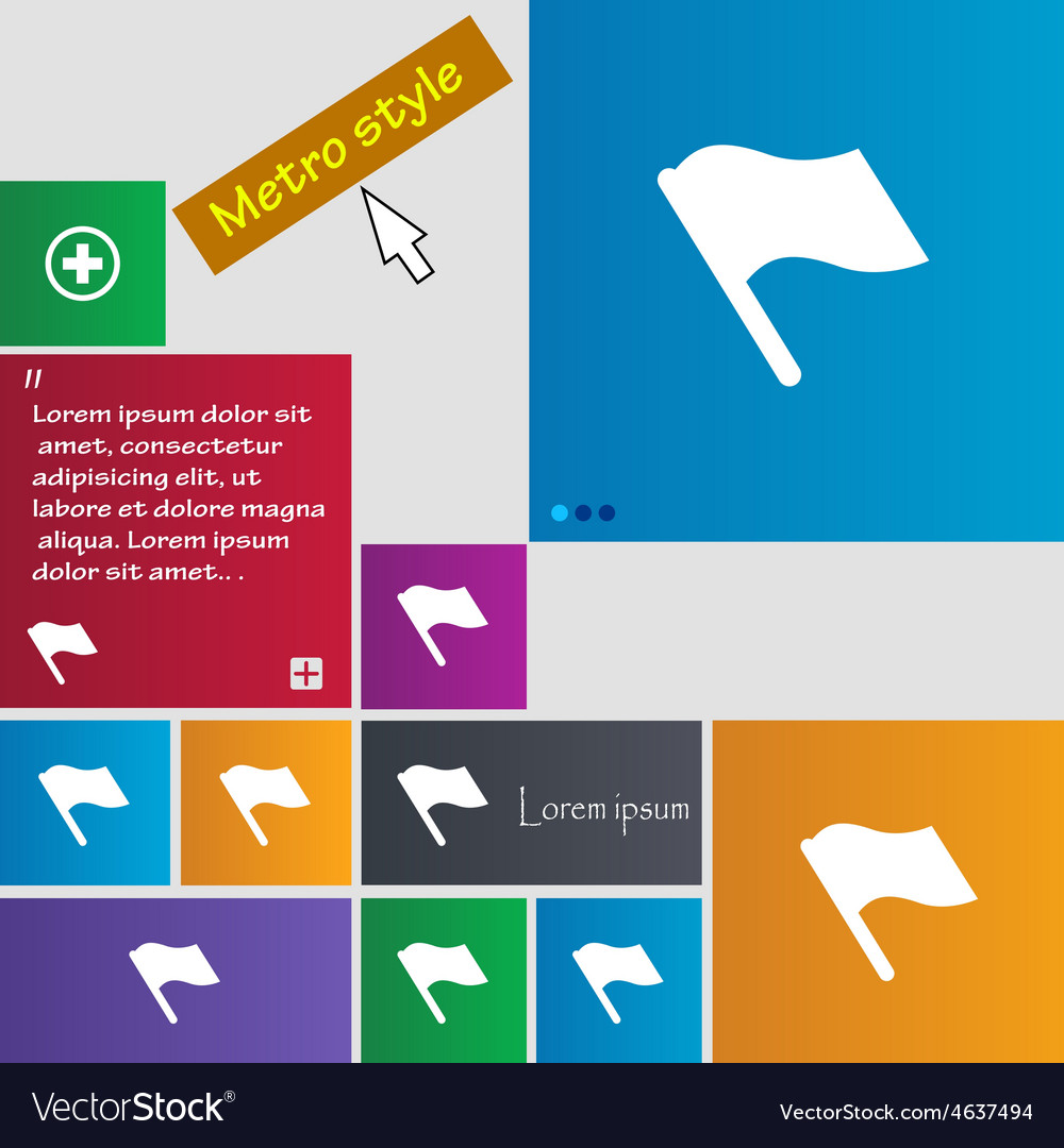 Finish start flag icon sign metro style buttons vector | Price: 1 Credit (USD $1)