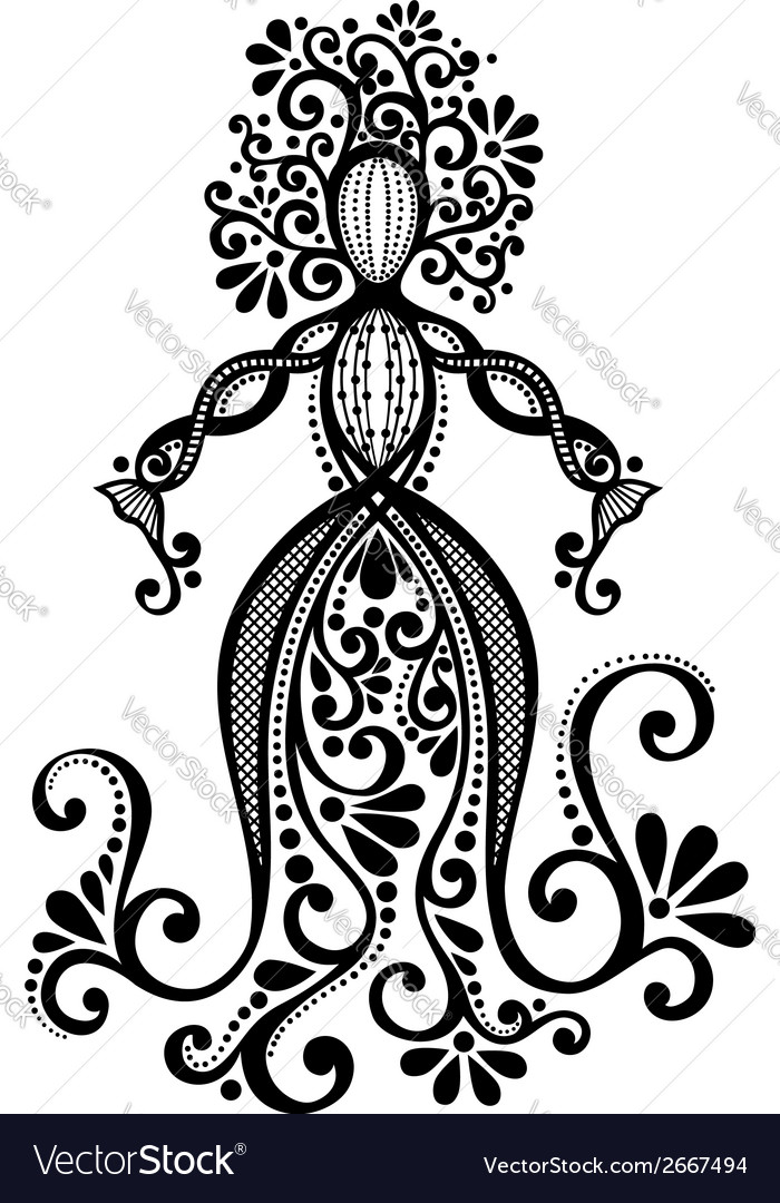 Hand drawing silhouette of floral goddess vector | Price: 1 Credit (USD $1)