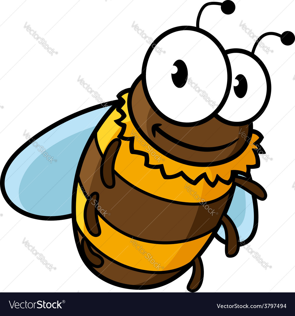 Happy flying cartoon bumble or honey bee vector | Price: 1 Credit (USD $1)