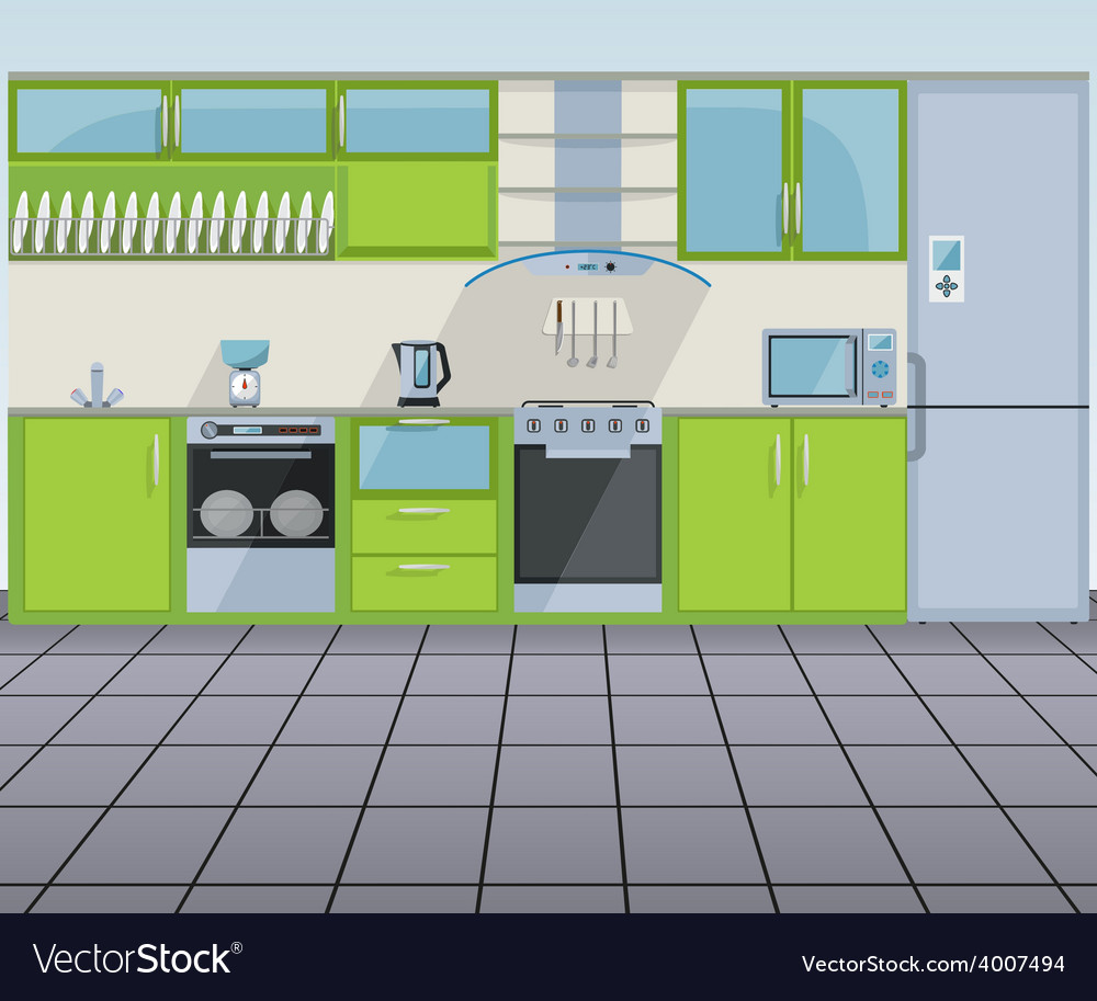 Modern green kitchen interior vector | Price: 1 Credit (USD $1)