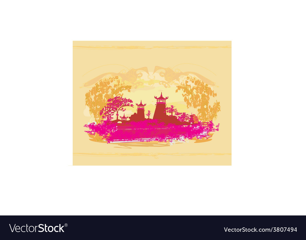 Old paper with japanese temple on abstract asian vector | Price: 1 Credit (USD $1)