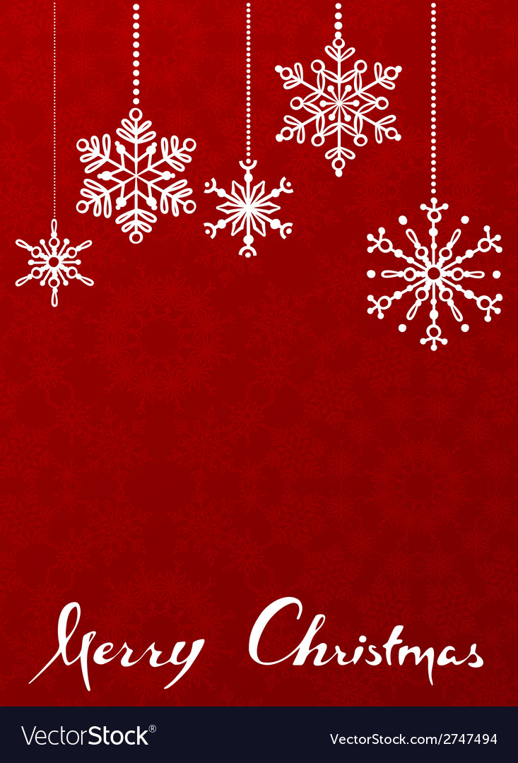 Red christmas background with hanging snowflakes vector | Price: 1 Credit (USD $1)