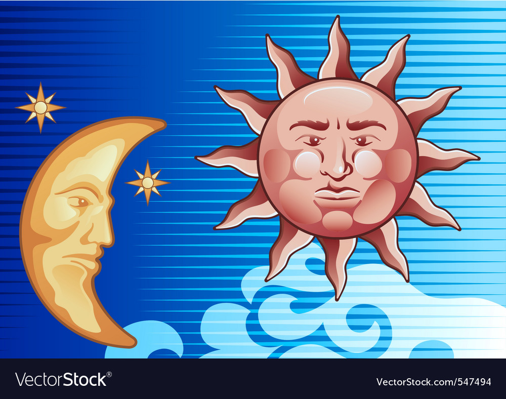 Sun and moon vector | Price: 1 Credit (USD $1)