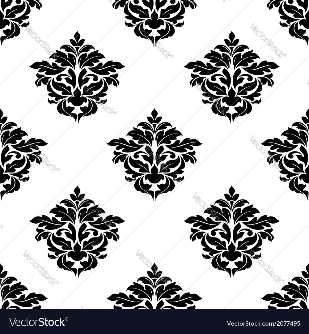 Black and white foliate motif seamless pattern vector | Price: 1 Credit (USD $1)
