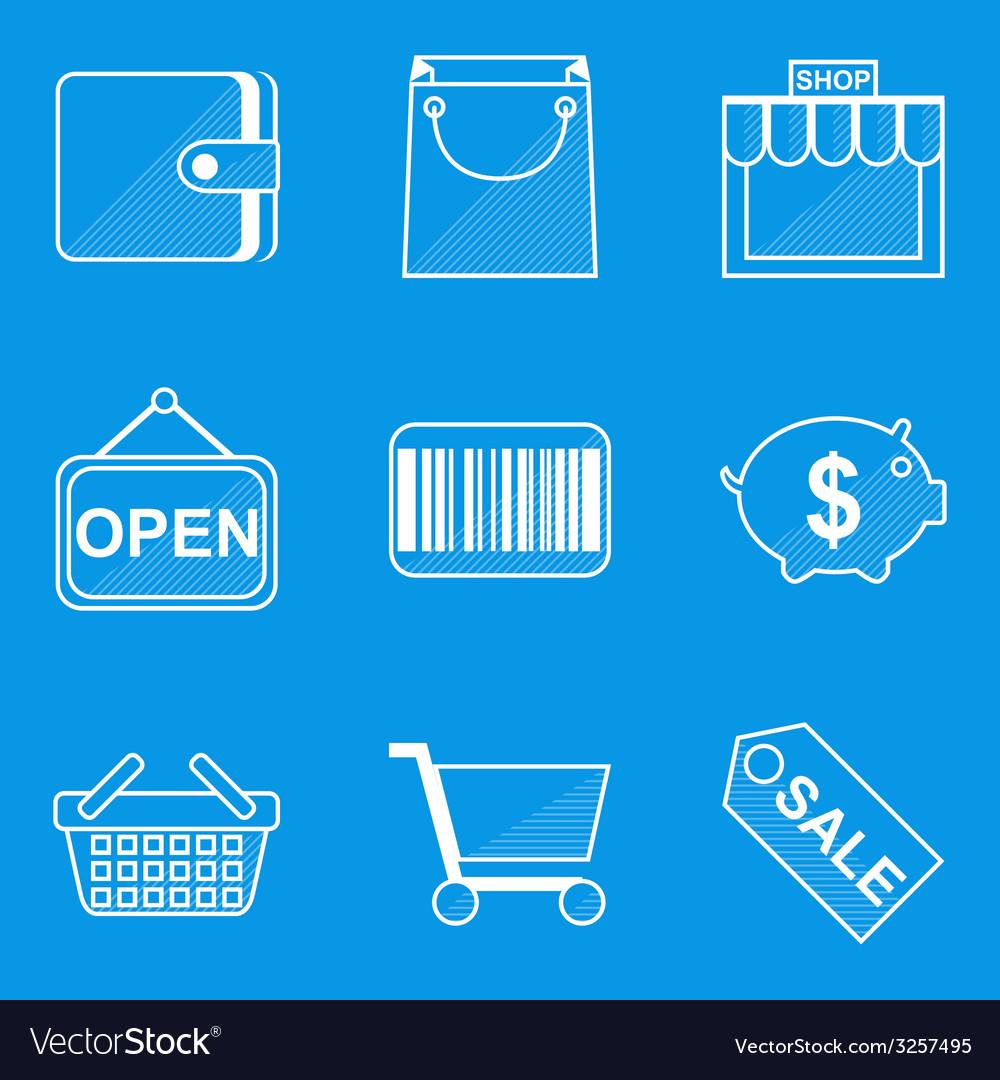 Blueprint icon set shop vector | Price: 1 Credit (USD $1)