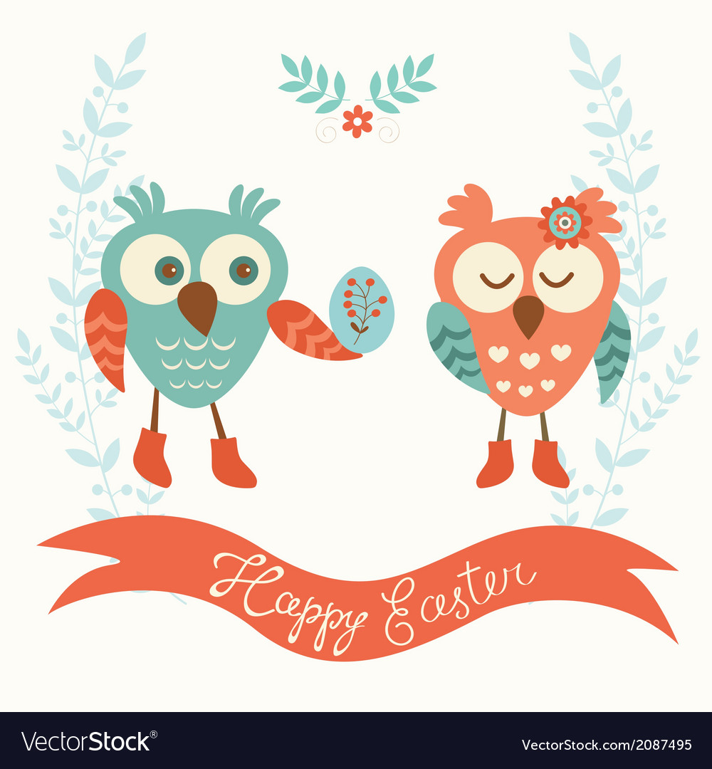 Cute owls couple vector | Price: 1 Credit (USD $1)