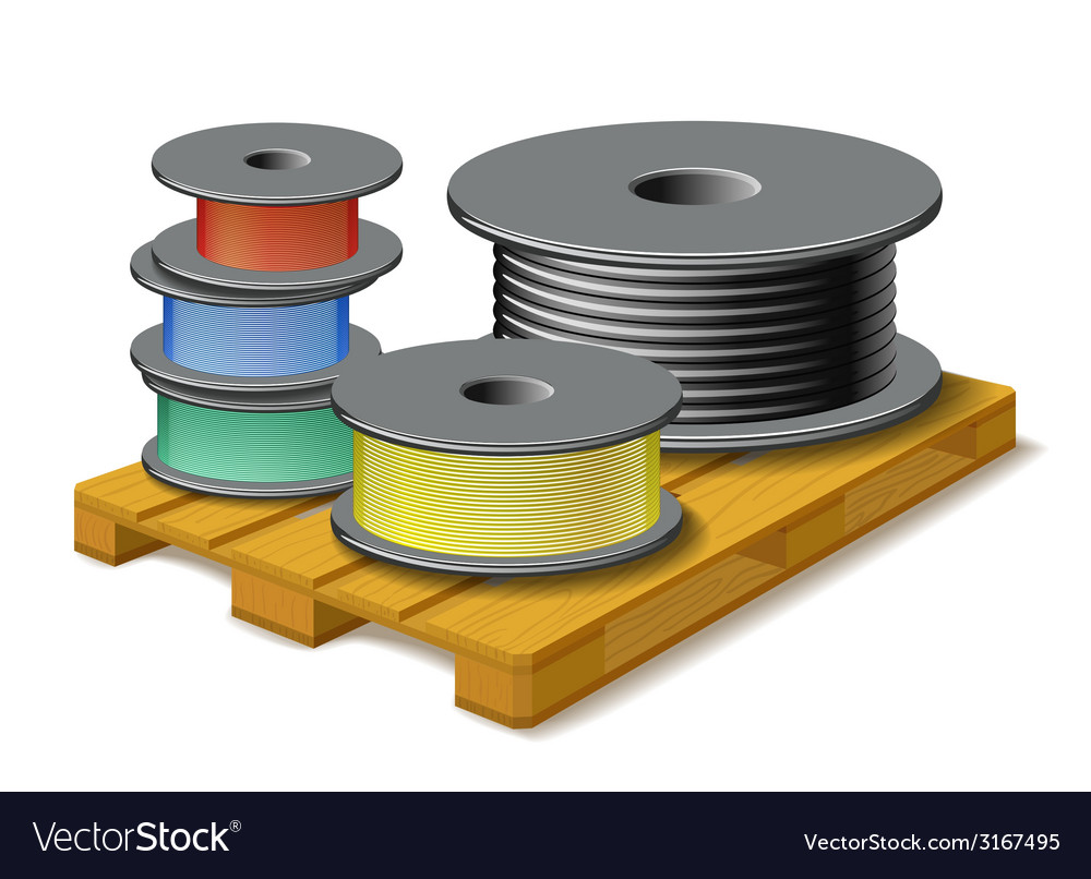 Different cables are on wooden pallet vector | Price: 1 Credit (USD $1)
